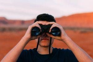binoculars, looking, man