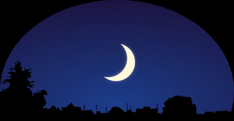 sky, moon, silhouette