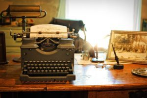 typewriter, desk, vintage
